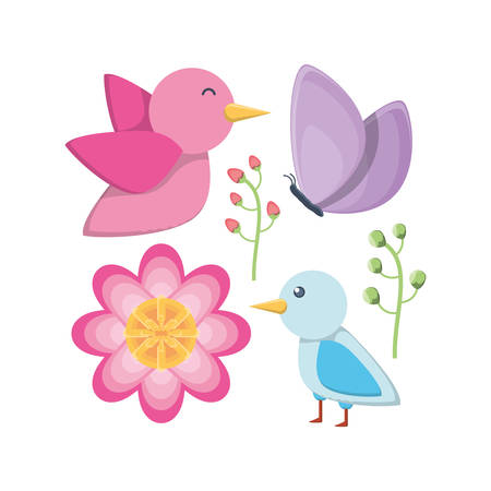 Icon set of cute birds and beautiful flowers vector illustration