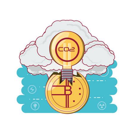Diseño de consumo de energía de Bitcoin con explosión de humo y bombilla con símbolo de CO2 sobre fondo blanco, ilustración vectorial de diseño colorido Ilustración de vector