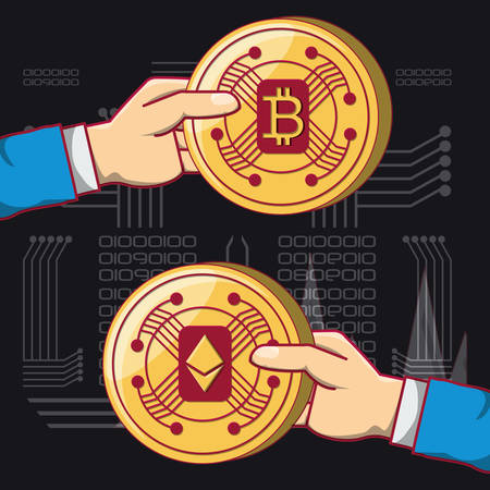 Hands holding a bitcoin and ethereum coins icon over black background, colorful design vector illustration