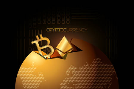 earth planet with bitcoin and ethereum symbols over black background, golden design vector illustration