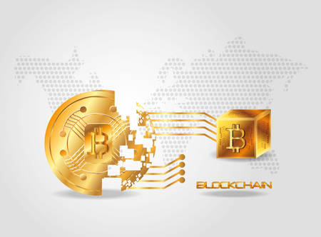 Blockchain design with disintegrated bitcoin coin over gray background, colorful design vector illustration Illustration