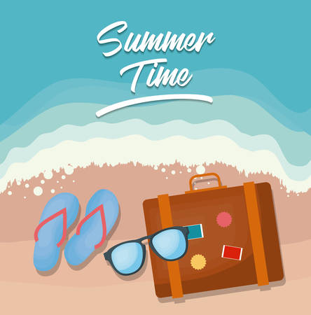 Summer time design with suitcase and glasses over beach background, colorful design vector illustration