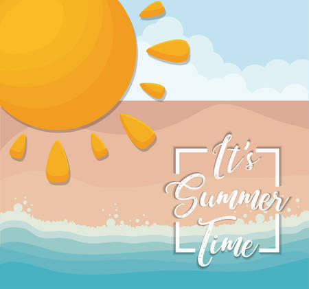 Summer time design with sun icon over beach background, colorful design vector illustration