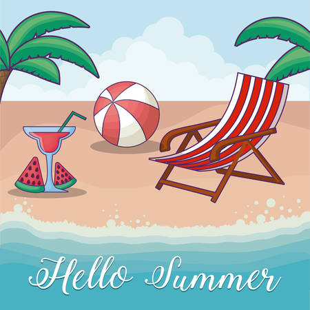 Hello summer design with cocktail drink and related icons over beach background, colorful design vector illustration Illusztráció