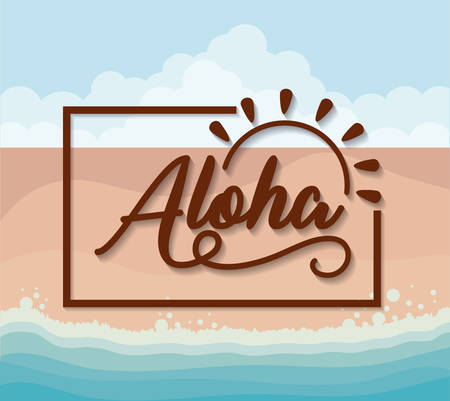 Aloha design with decorative frame and sun shape, colorful design vector illustration