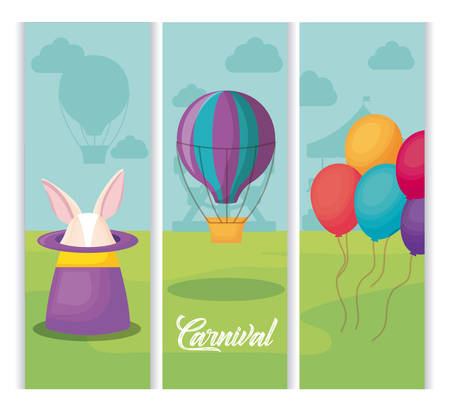 Carnival circus with magic hat and hot air balloon over landscape background, vector illustration Illustration