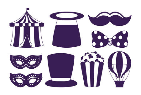 Icon set of carnival circus design over white background, vector illustration Çizim