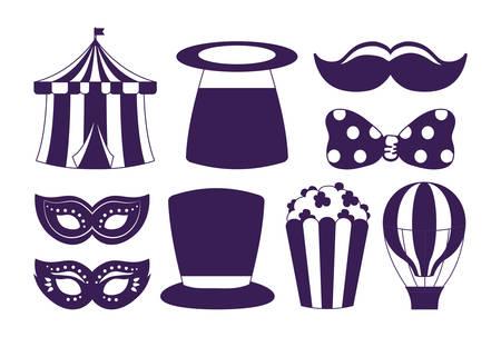 Icon set of carnival circus design over white background, vector illustration Vettoriali