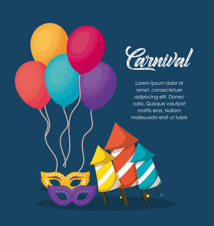 Circus carnival infographic with balloons and related icons over blue background, colorful design vector illustration