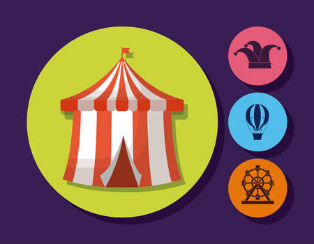 circus tent and related icons over colorful circles and purple background, vector illustration Illustration