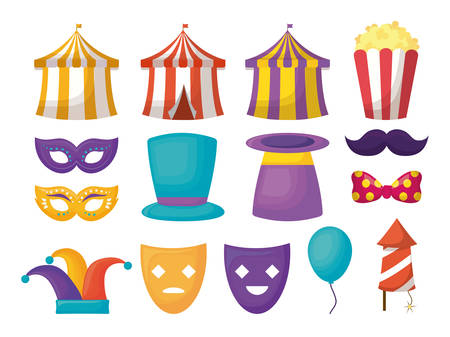 Icon set of carnival circus design over white background, colorful design vector illustration