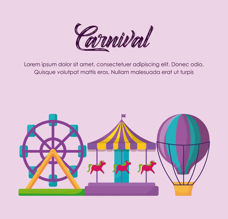 Circus carnival infographic with fortune wheel and carousel icon over pink background, colorful design vector illustration