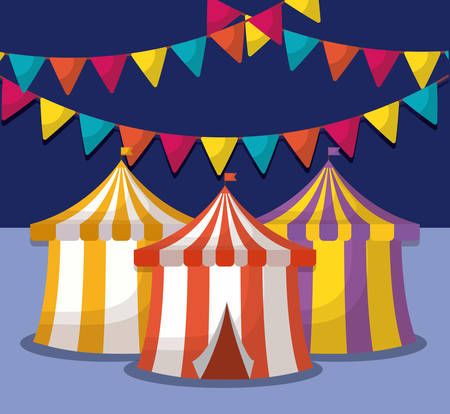 Circus carnival design with decorative pennants and circus tents icon over background, colorful design vector illustration Illustration
