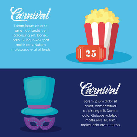 Infographic of carnival circus with pop corn and hat and mask  over colorful background, vector illustration