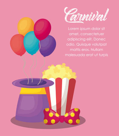 Circus carnival infographic with magic hat with ballons and pop corn icon over pink background, colorful design vector illustration