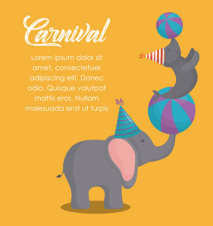 Circus carnival infographic with show of elephant holding a seal icon over yellow background, colorful design vector illustration