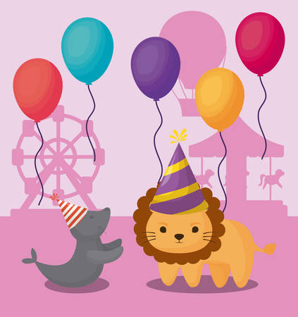 Carnival circus design with lion and seal with colorful balloons over funfair pink background, colorful design vector illustration