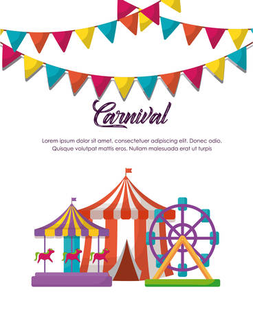 Circus carnival infographic with circus tent and fortune wheel and carousel icon over white background, colorful design vector illustration Ilustracja