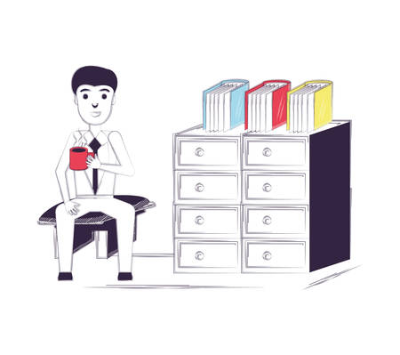 Sketch of man sitting and drinking coffee at the office over white background, vector illustration