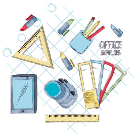 Office supplies around over gray  background, vector illustration