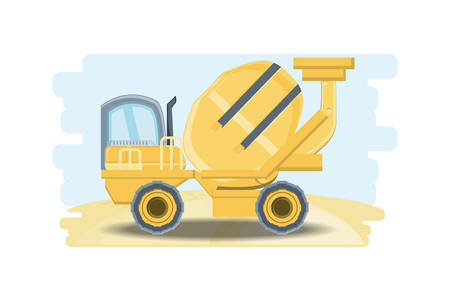 Concrete mixer icon over white background, colorful design vector illustration Illustration