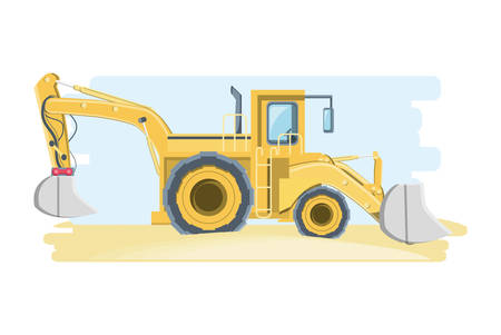 Construction front and backhoe loader truck over white background, colorful design vector illustration Illustration