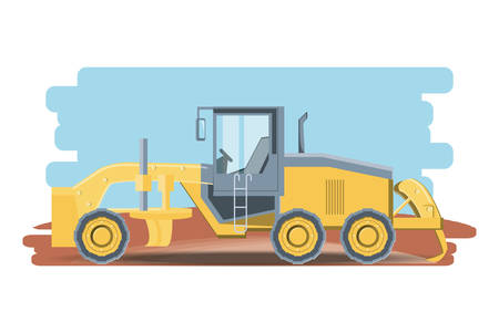 Construction forklift truck icon over whtie background, colorful design vector illustration