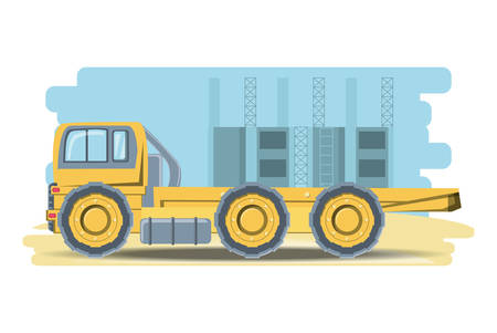 Underconstruction zone with construction truck icon over white background, colorful design vector illustration Illustration