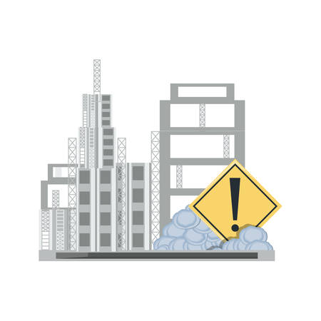 Construction zone with pile of stones and buildings over white background, colorful design vector illustration