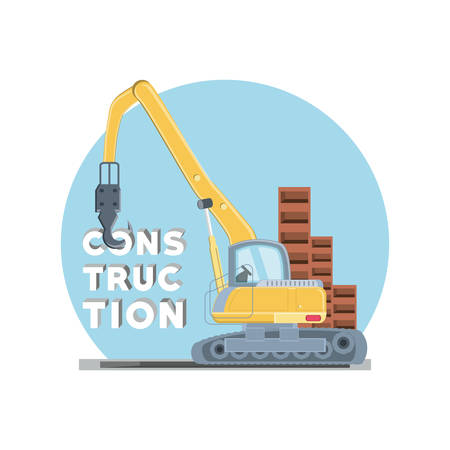 Under construction zone with Construction crane truck icon over white background, colorful design vector illustration