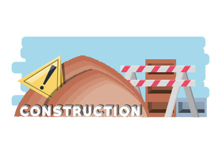 Construction Zone With Pile Of Sand And Warning Barrier Over White Background Colorful Design Vector