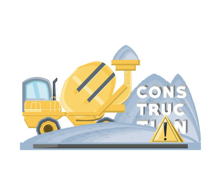 Concrete mixer and warning sign icon over white background, colorful design vector illustration