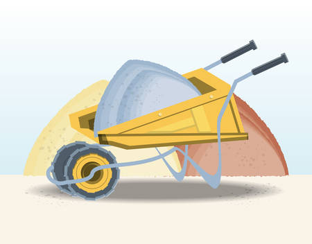 Construction wheelbarrow with sand over white background, colorful design vector illustration