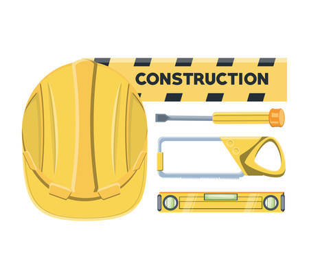 Construction equipment design with safety helmet and tools over white background.
