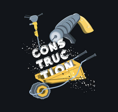 Construction equipment design with drill and wheelbarrow over black background.