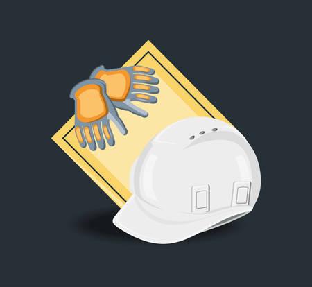 Construction equipment design with safety helmet and gloves over black  background, colorful design vector illustration Illustration