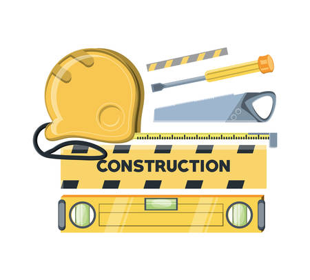 Construction equipment design with spirit level and tools over white background, colorful design vector illustration Illustration