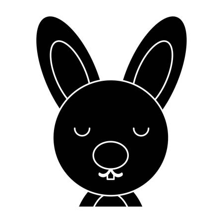 A cute bunny icon over white background, vector illustration