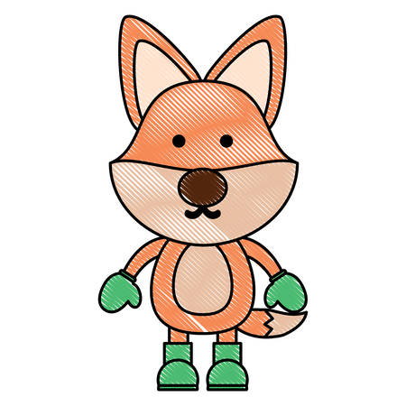 A cute fox with boots and gloves over white background. christmas animals concept. colorful design. vector illustration