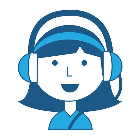 Cartoon girl with headphones over white background, blue shading design. vector illustration