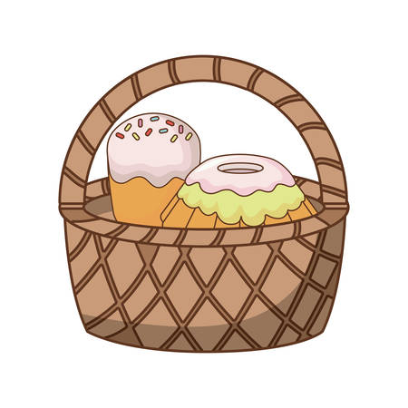 Basket with cakes icon over white background, colorful design.  vector illustration