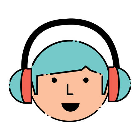 Cartoon man face with headphones over white background, colorful design. vector illustration Illustration