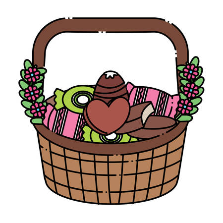 Basket with candies icon over white background, colorful design. vector illustration Zdjęcie Seryjne - 97139500