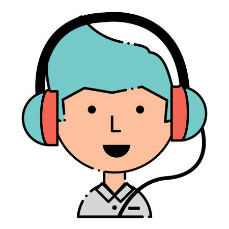 Cartoon man with headphones over white background, colorful design. vector illustration