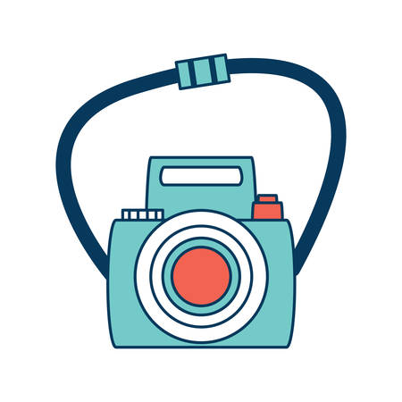 photographic camera with strap icon over white background, colorful design. vector illustration
