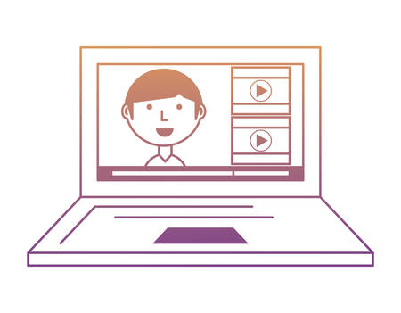 Laptop computer with social profile on screen over white background, colorful design. vector illustration Ilustração