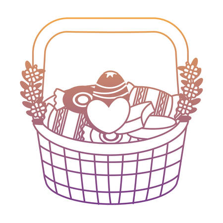 Basket with candies icon over white background, colorful design. vector illustration