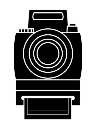 Instant camera icon over white background, vector illustration