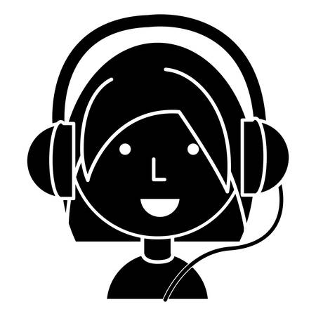 Cartoon girl with headphones over white background, vector illustration
