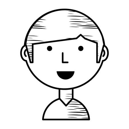 sketch of Cartoon man icon over white background, vector illustration